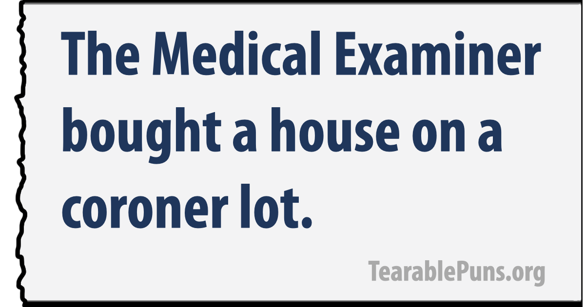 The Medical Examiner bought a house on a coroner lot.